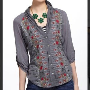 Anthropologie Tiny Gray Embroidered Button Up Top